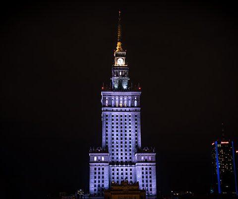 Варшава в марте: ДКИН Ночью